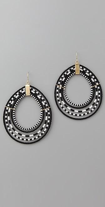 Noir Jewelry Beaded Hoop Earrings