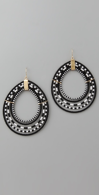 Noir Jewelry Beaded Hoop Earrings