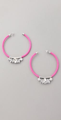 荧光色水晶圆圈耳环