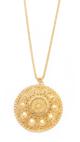 Noir Jewelry Darjeeling Spiked Circle Pendant Necklace
