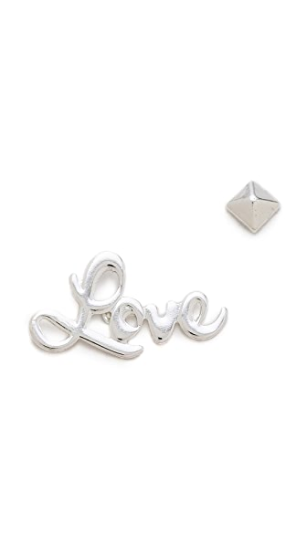 Noir Jewelry Love & Stud Ear Creeper Earrings