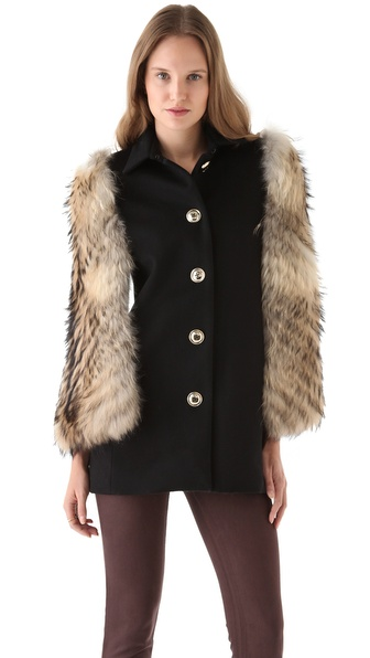 Nonoo Wool Cape with Fur