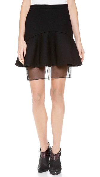 Nonoo Organza Hem Flare Skirt