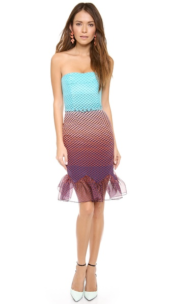 Nonoo Lauren Strapless Ruffle Hem Dress