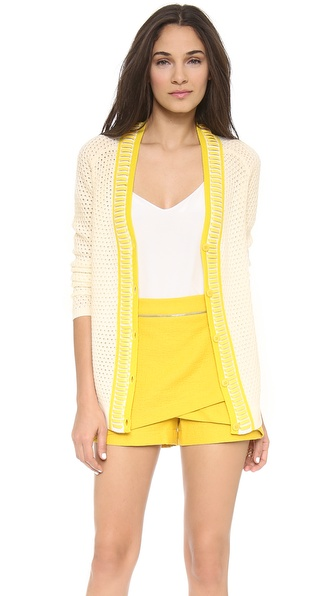 Nonoo Leather Trim Cardigan