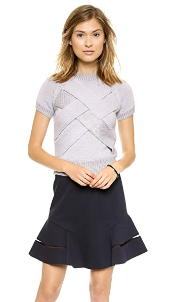 Misha Nonoo Crisscross Cropped Sweater
