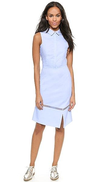 Kupi Misha Nonoo haljinu online i raspordaja za kupiti Misha Nonoo Chambray Shirtdress With Organza Insert Chambray online