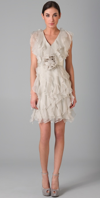 Notte by Marchesa Silk Organza Ruffle Dress