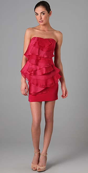 Notte by Marchesa Strapless Crepe Dress with Organza Ruffle