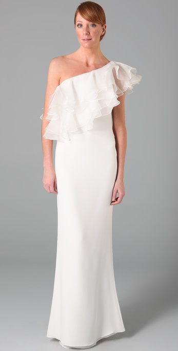 Notte by Marchesa One Shoulder Column Gown with Organza Ruffle