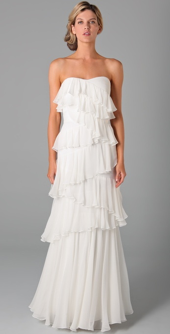 Notte by Marchesa Strapless Column Dress with Ruffles