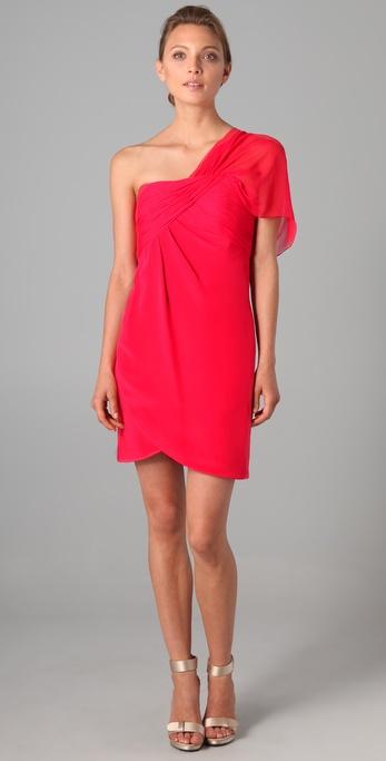 Notte by Marchesa Draped One Shoulder Chiffon Bodice Dress