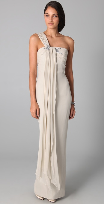 Notte by Marchesa One Shoulder Drape Column Gown