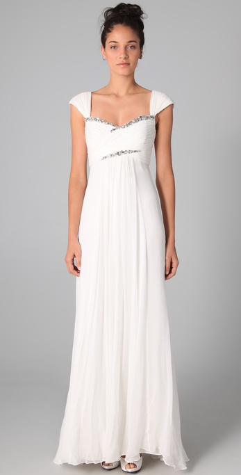 Notte by Marchesa Empire Gown with Rhinestones