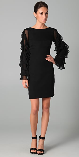 Notte by Marchesa Chiffon Shift Dress with Ruffle Sleeves