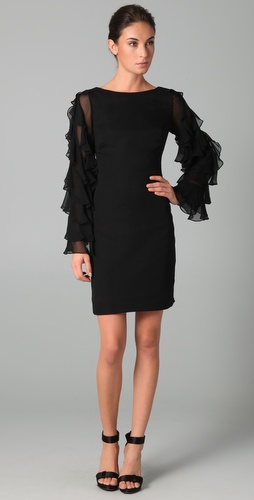 Notte by Marchesa Chiffon Shift Dress with Ruffle Sleeves