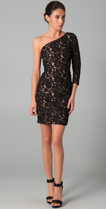 Notte by Marchesa One Shoulder Lace Dress