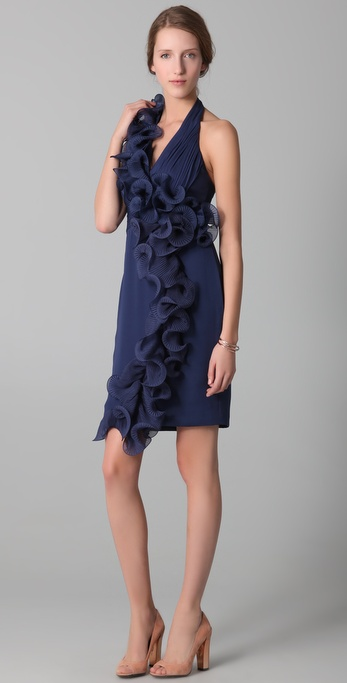 Notte by Marchesa Halter Dress with Ruffle