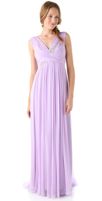 Notte by Marchesa Silk Gown with Embroidered Bodice