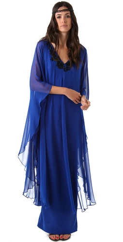 Notte by Marchesa V Neck Embroidered Caftan