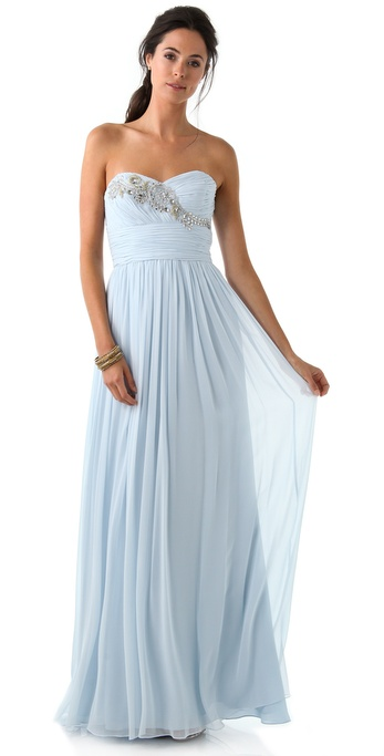 Notte by Marchesa Strapless Gown with Embroidered Bodice