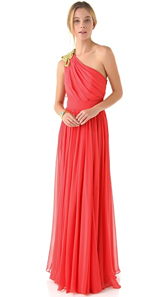 Notte by Marchesa One Shoulder Dress with Knotted Cord