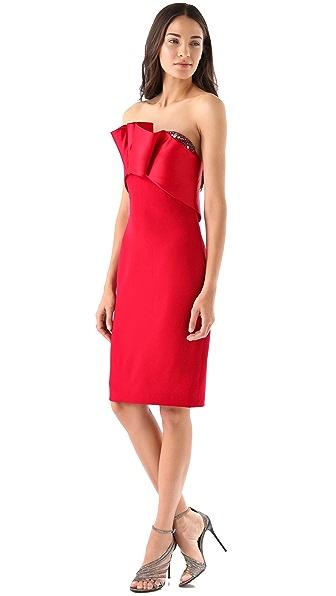 Marchesa Notte Strapless Silk Crepe Dress