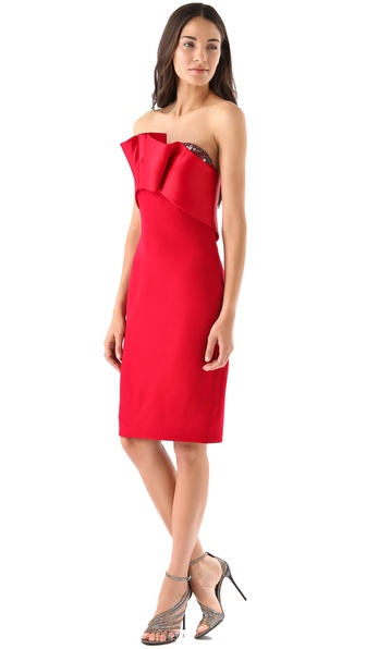 Notte by Marchesa Strapless Silk Crepe Dress
