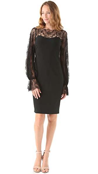 Marchesa Notte Bateau Neck Lace Dress