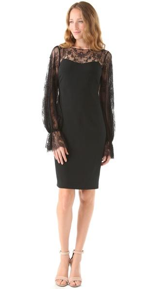 Notte by Marchesa Bateau Neck Lace Dress