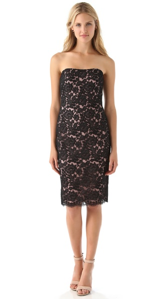 Notte by Marchesa Strapless Lace Dress