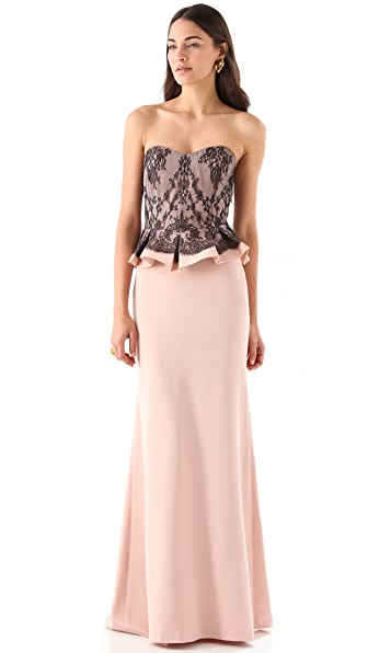 Marchesa Notte Silk Crepe Strapless Dress