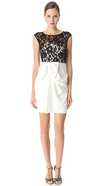 Marchesa Notte Lace Bateau Cocktail Dress