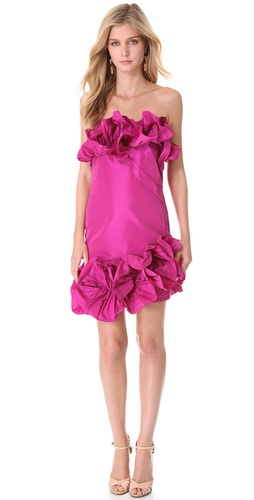 Shop Marchesa Notte Ruffled Strapless Cocktail Dress and Marchesa Notte online - Apparel,Womens,Dresses,Cocktail,Night_Out, online Store