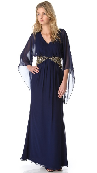 Notte by Marchesa Long Sleeve Gown with Beaded Waist