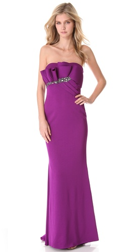 Shop Marchesa Notte Strapless Gown with Draped Bodice and Marchesa Notte online - Apparel,Womens,Dresses,Black_Tie, online Store