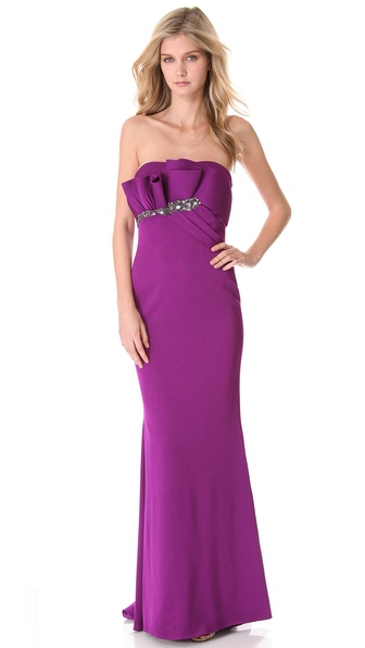 Notte by Marchesa Strapless Gown with Draped Bodice