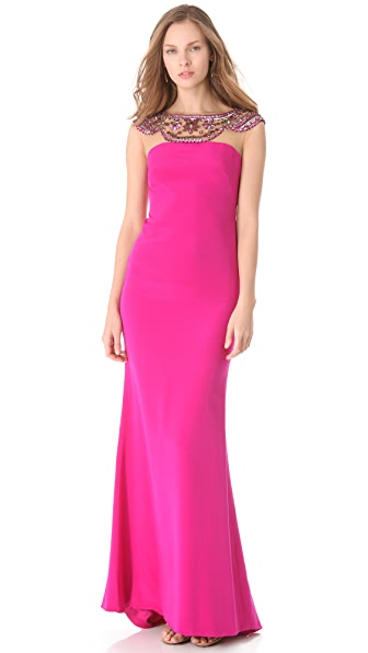 Marchesa Notte Silk Crepe Column Gown
