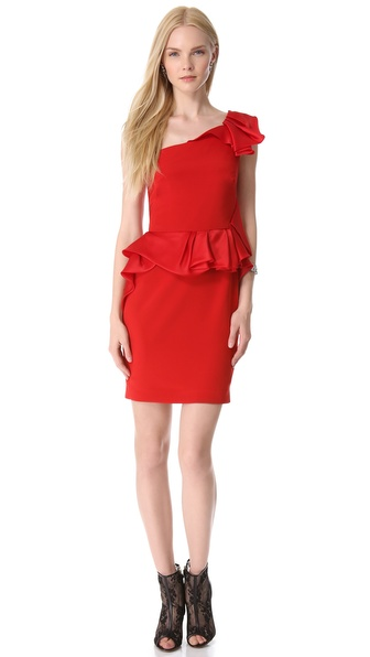 Notte by Marchesa Crepe One Shoulder Cocktail Dress