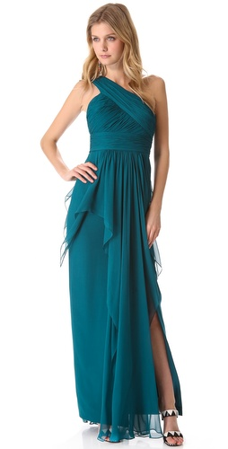 Notte by Marchesa One Shoulder Chiffon Gown with Cascading Skirt