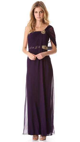 Notte by Marchesa Draped One Shoulder Gown