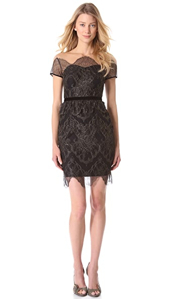 Notte by Marchesa Illusion Neckline Cocktail Dress