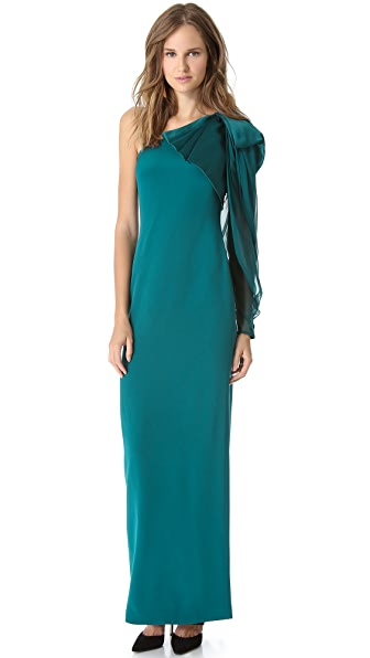Notte by Marchesa One Shoulder Crepe Gown