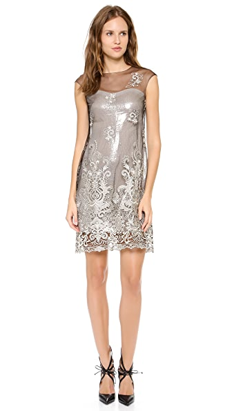 Marchesa Notte Embroidered Shift Dress