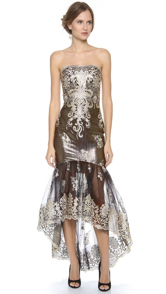 Notte by Marchesa Strapless Embroidered Lace Gown
