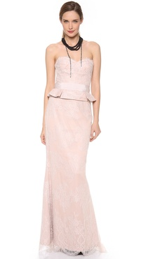 Notte by Marchesa Strapless Lace Gown with Peplum