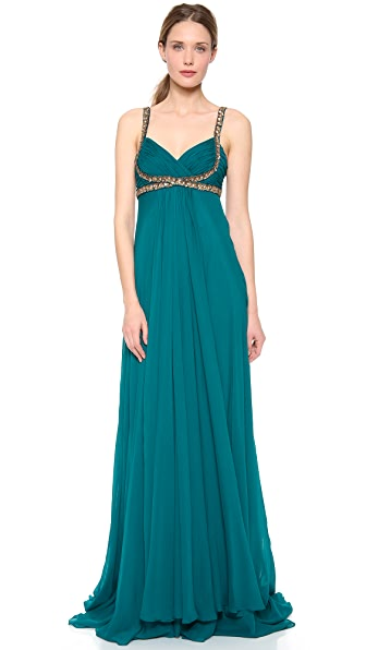 Marchesa Notte Empire Gown with Embroidery