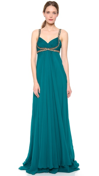 Notte by Marchesa Empire Gown with Embroidery