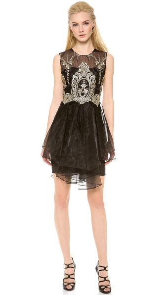 Notte by Marchesa Sleeveless Organza Cocktail Dress