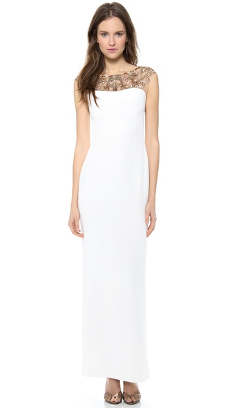 Notte by Marchesa Silk Crepe Column Dress